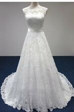 UK New White/Ivory Lace Wedding Dress Bridal Gown Size 6-18