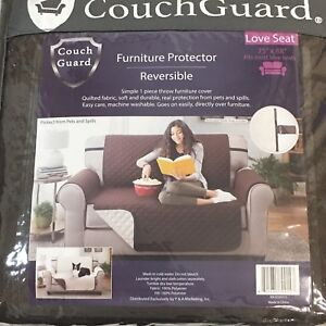 """Couch Guard Reversible Love Seat Protector Brown/ Beige 75"""" x 88"""""""