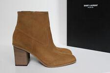 sz 9.5 / 40 Saint Laurent Tan Light Brown Suede Ankle Bootie Heel Shoes