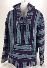 Mens Trashed Poncho Baja Jacket Mexico Pullover Purple Blue XL