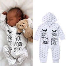 Casual Newborn Baby Boy Girl Dot Hooded Romper Bodysuit Jumpsuit Outfits Clothes