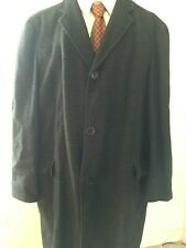 Men's Vtg Alpaca Wool Overcoat Charcoal Check Bartunek'S Shower Proof 48R