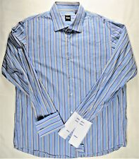HUGO BOSS Mens Dress Shirt XL Striped French-Cuff Long-Sleeve Designer Cotton