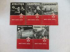 Lot 5 BOY SCOUT MERIT BADGE SERIES Athletics Camping Journalism Canoeing Fitness