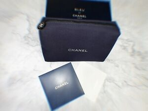 Bleu Blue Canvas Make up Pouch Bag VIP gift from Chanel perfume