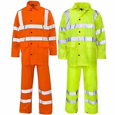 Hi viz 100% polyester waterproof rainsuit jacket & trouser set hi vis rain suit