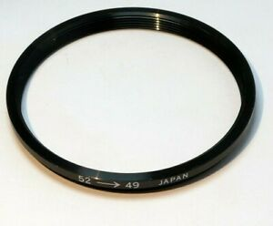 52mm to 49mm Step-down ring Metal adapter threaded for lens filter