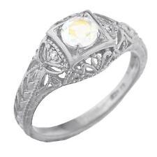 Natural Mercury Mist Mystic Topaz & Diamond Round Ring .925 Sterling Silver