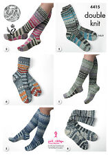 KING COLE PATTERN 4415.  SOCKS FOR THE FAMILY.  KNITTED ON 2 NEEDLES.  DK