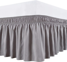 Biscaynebay Wrap Around Bed Skirts Elastic Dust Ruffles, Easy Fit Wrinkle And Fa