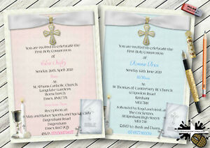 1-10 PERSONALISED FIRST HOLY COMMUNION INVITATIONS OR THANK YOU CARDS BOY / GIRL