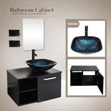28' Bathroom Wall Mount Vanity Floating Wood Cabinet Shelf Sink Faucet Combo Us