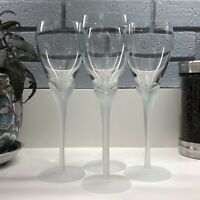 Vintage Lilly Tulip Frosted Crystal Stem Wine Glasses - Set of 4 - S4