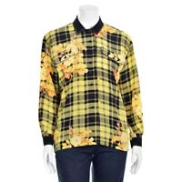 Escada Margaretha Ley Black/Yellow Plaid Floral Print Silk Blouse Shirt Top 38/8