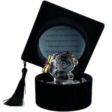 Graduation Glass Teddy Bear Holding Degree with Poem in Black Graduation Hat