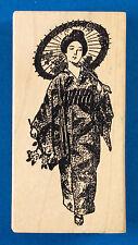 Japanese Woman Rubber Stamp by 100 Proof Press - Parasol Kimono Geisha Walking