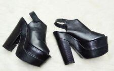 Topshop ladies black leather high platform open toe sling back chunky shoes 7 40