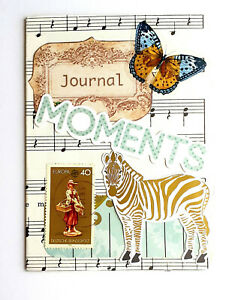 Hand Made Collage Cover Small Travelers Notebook Junk Journal Craft Memory Diary