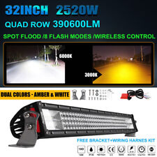 "2520W 32inch CREE LED Light Bar COMBO Quad Row Lens Dual Color Work Lamp 30"" 34"""