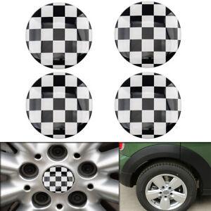 4pcs 52mm Checkered Wheel Center Hub Cap Badge Emblem Sticker For Mini Cooper