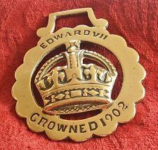 ANTIQUE COMMEMORATIVE HORSE BRASS - KING EDWARD VII CROWNED 1902