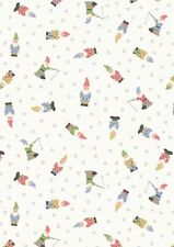 Fat Quarter Garden Gnomes White Grandma's Garden 100% Cotton Quilting Fabric