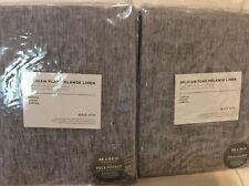 West Elm Two (2) Belgian Flax Melange Linen Curtain 48x84L NIP! Slate Gray