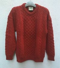 "Mans Red Aran Pullover Wool Sweater 46 "" XL Jumper Cable Pure Irish Carraig Donn"