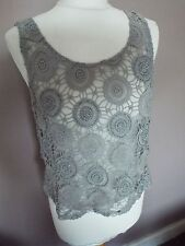 River island grey lace sheer beaded top size 12