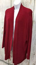 Citiknits Sz 1X Red Open Front Slinky Travel Knit Cardigan Top Women's Sweater