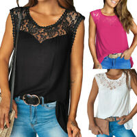 Women Lace Floral Tank Top Ladies Loose Casual Sleeveless Vest T-Shirt Blouse