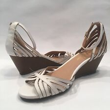 Montego Bay Club PRIMA Women's Sz 8 Strappy wedge heels sandals White Brown