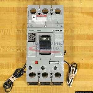 Siemens HFXD63B250 Breakers, 65 kAIR, Shunt Tr, Aux Sw, HFXD63B250A2RD, Used
