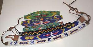 6 Vintage Beaded Headbands Hand Loomed Beadwork