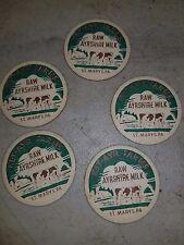 5 MILK BOTTLE CAPS . KEY-AYR FARMS. ST MARYS, PA. DAIRY  RAW AYRSHIRE MILK FREE