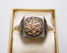 Vintage 1950s Clark & Coombs USA Girl Scouts Sterling Silver 10K Gold Ring S 6.5