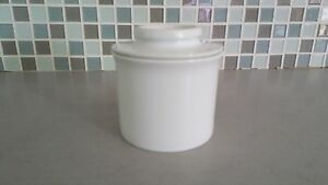 "NORPRO 291 White Porcelain Butter crock 4"" Butter Jar Unused with Lid"