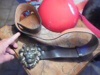 Ancienne Grosse Ceinture Cuir Tête Lion style Loubard idéal Rocker Motard Biker