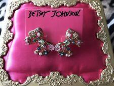 Betsey Johnson Fairyland Crystal Flower Embellished Bow Stud Earrings RARE NWT