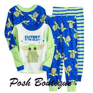 Boys Disney STAR WARS LIL BOBA Gray /& Green Long Sleeve Pajamas Size 3T 4T OR 5T