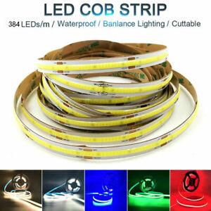 1M-5M Flexible COB LED Strip Light 12V 24V 384LEDs High Density Waterproof Tape