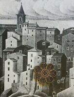 Vtg MC Escher Art Print Bookplate Cut ITALY LANDSCAPES TOWNS SCENIC VIEWS