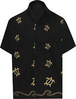 LA LEELA Men's Beach Hawaiian Shirt Button Down Aloha Party Shirt XS Black_W850