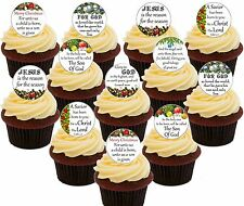 Christmas Message Edible Cupcake Toppers, 24 Precut Fairy Cake Bun Decorations