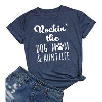 Women's Rockin' The Dog Mom Aunt Life T-shirt Cute Dog Lovers Shirts Tees Tops