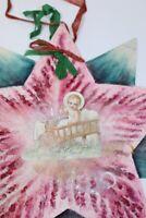 Vintage 1930 Calendar With Baby Angel Hair Star Holiday Decoration Handmade