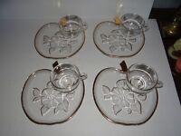 Vintage Set of 4 Glass Apple Plates Cups Snack Dessert Luncheon Set Gold Trim
