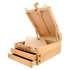 Portable Table Desktop Artist Wood Easel SketchBox 3 Layer Drawer Art w/Painting