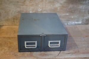 vintage Cole Co. Steel Two Drawer Index Card Stackable Metal File Cabinet