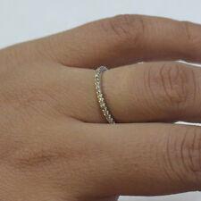18K White Gold Engagement Eternity Band Ring Diamond Pave Wedding Gift Jewelry